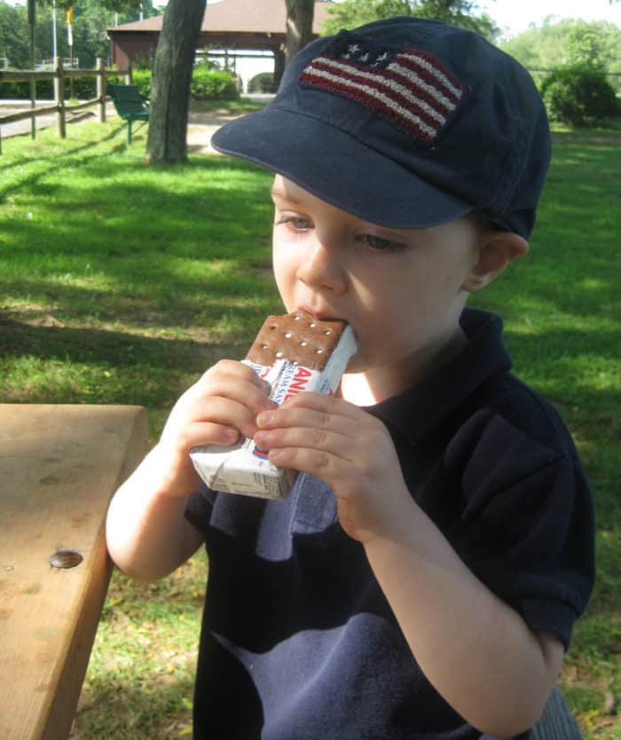 Wordless Friday — A Little Boy and His Ice Cream Sandwich