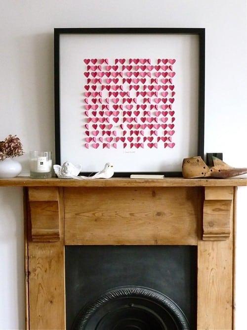 Valentine's Day artwork, framed paper hearts