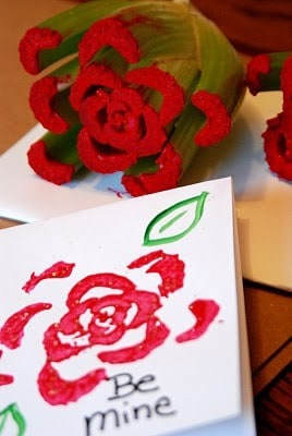 Valentine's Day Crafts For Kids, celery stamp to make a rose