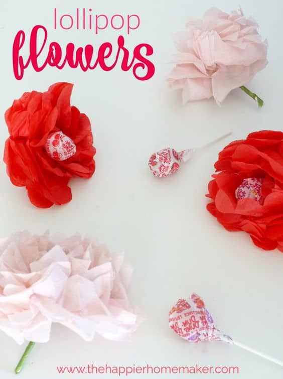 Valentine's Day Crafts for kids, lollipop flower valentine