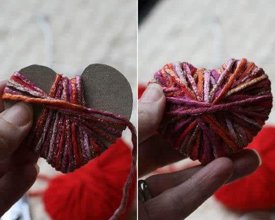 Valentine's Day DIY yarn heart