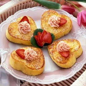 Valentine's Day DIY food, heart-shaped French toast with strawberry butter