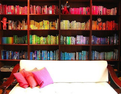 book storages, books sorted by color