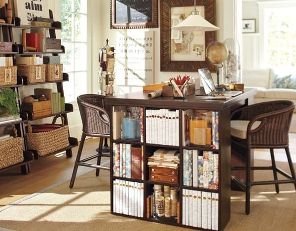 clever book storage in desk for two in home office