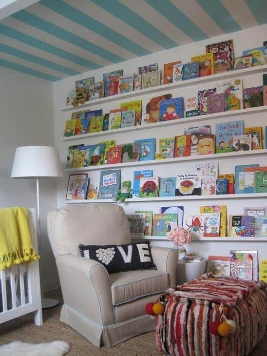 wall of books in kids room