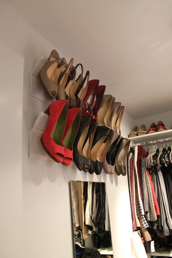 clever DIY shoe storage idea with crown molding