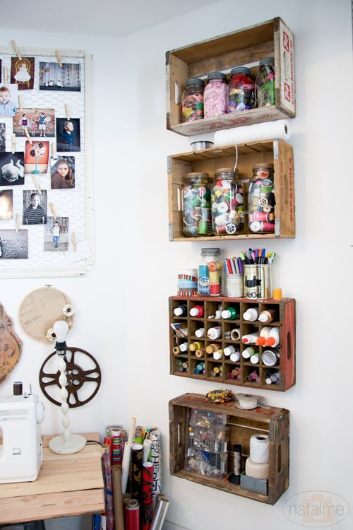vintage crates on wall for storage