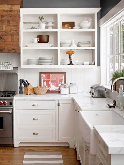open shelving in kitchen created by taking off cabinet doors