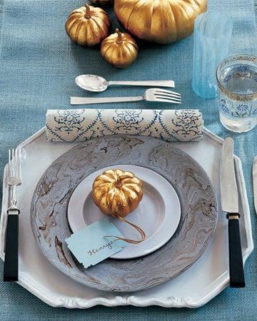 DIY spray-painted pumpkins for Thanksgiving decor
