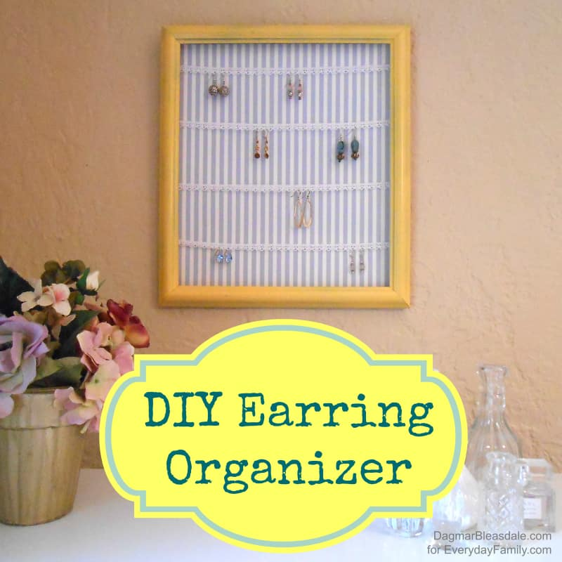 DIY Earring Organizer Made With a Frame & Lace Trim