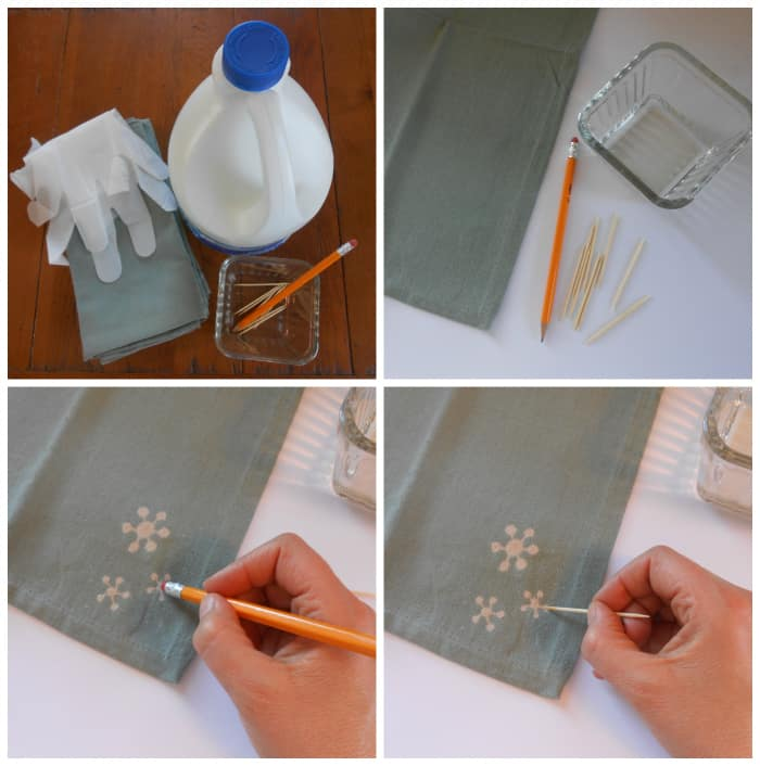 DIY bleach art napkin