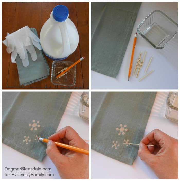 Easy DIY Project: Bleach Art Fabric Napkins