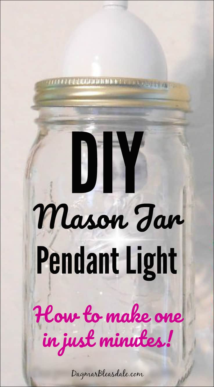 DIY mason jar pendant light, DagmarBleasdale.com