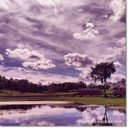 landscape, farm and clouds