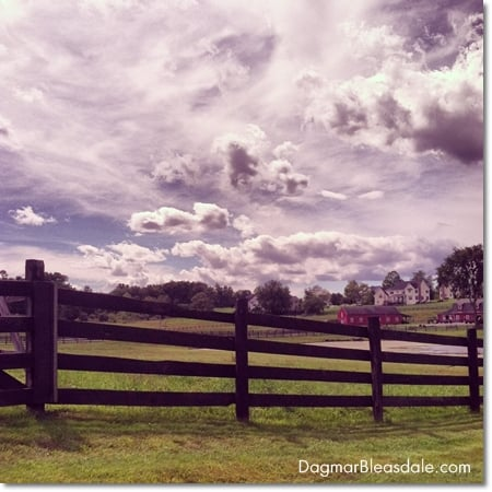 farm and clouds, Instagram picture with filter
