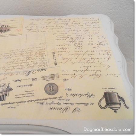 DIY Mod Podge table with vintage letters