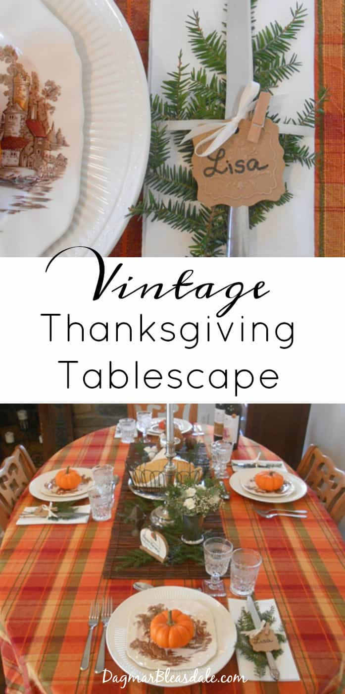 vintage Thanksgiving table setting with transferware