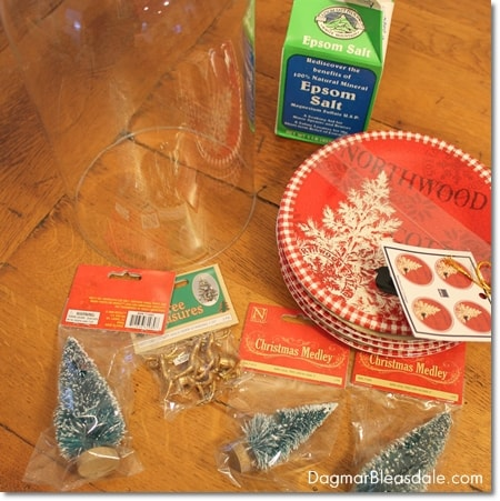 DIY snow globe with Ebsom salt and bottle brush trees