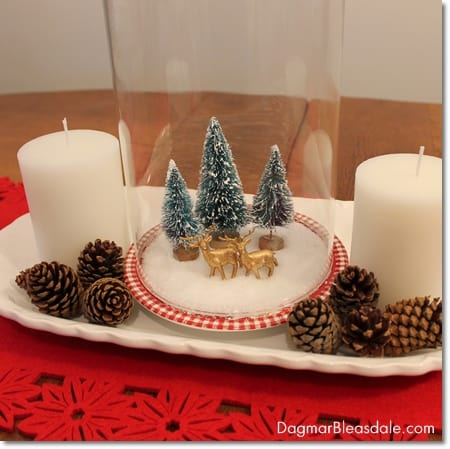 DIY center piece with Epsom salt snow glove with bottle brush trees