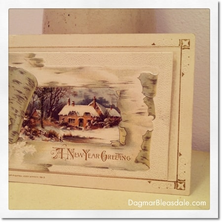 vintage New Year's card with cottage