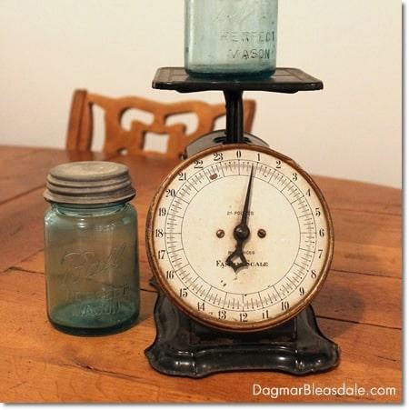 vintage scale and blue Ball mason jars