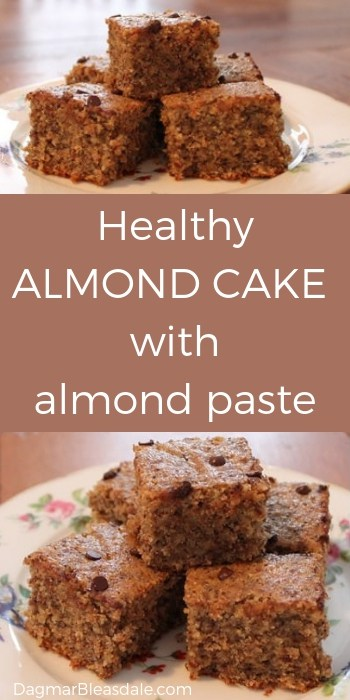 almond cake, healthy recipe with almond paste and chia seeds