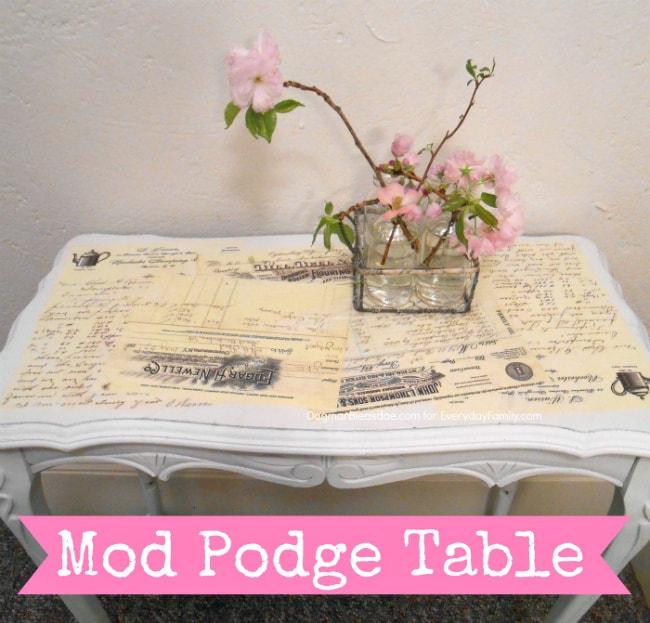 mod podge table, DIY tutorial DagmarBleasdale.com