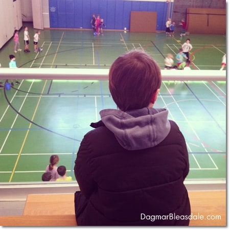 boy looking at gym