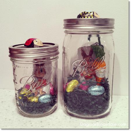chocolate Easter bunny in mason jar
