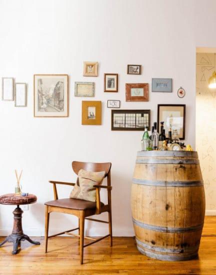 gallery wall, vintage wine barrel bar