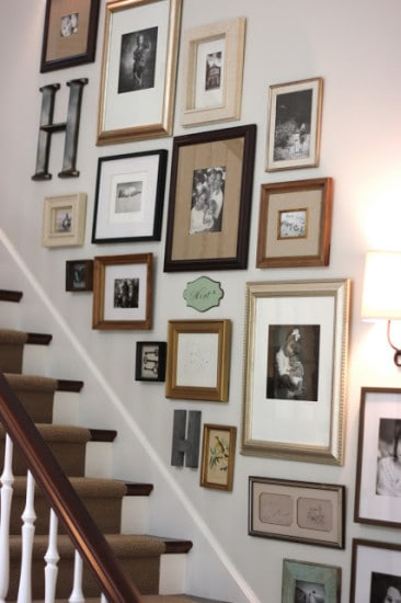 gallery wall stairwell