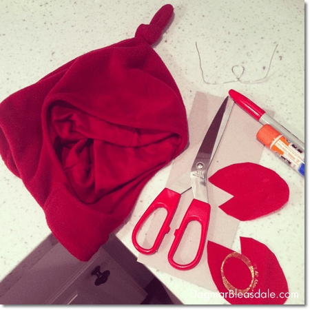 supplies for DIY crab headpiece