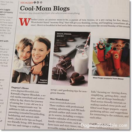 Dagmar Bleasdale featured in Westchester Magazine, best mom blogs