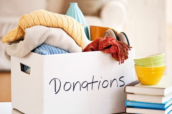 donating to charity, donation box with donations