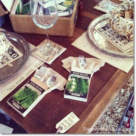vintage seed box table setting