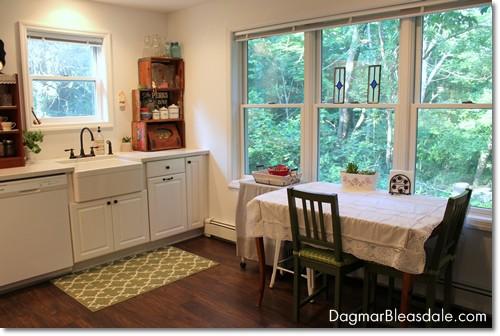 white farmhouse kitchen, Blue Cottage. DagmarBleasdale.com