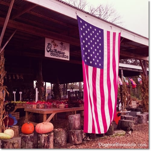 farm stand with big American flag