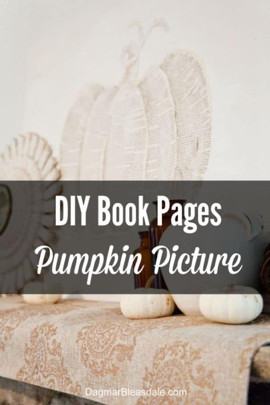 Neutral Fall Mantel & a Vintage Book Pages Pumpkin