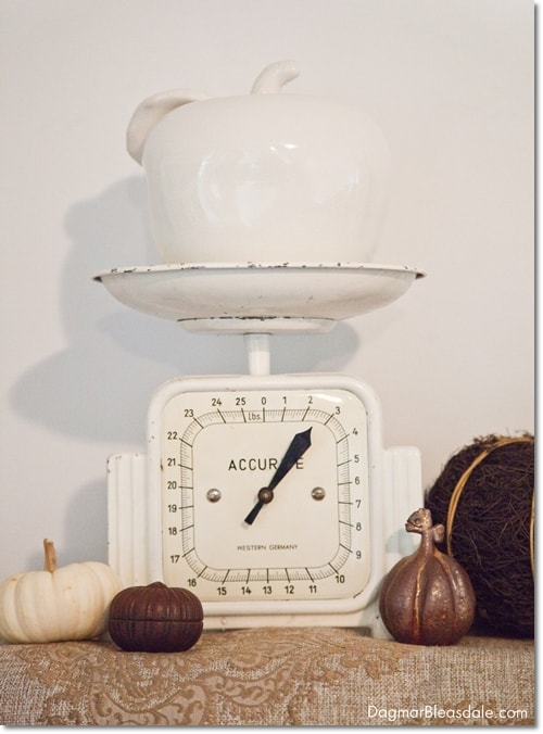 white vintage scale and while ceramic apple, DagmarBleasdale.com