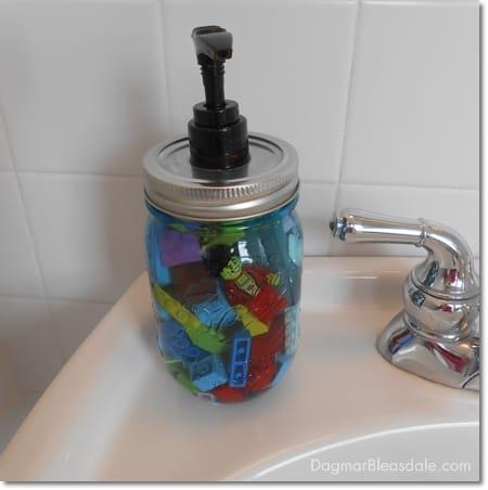 DIY lego soap dispenser