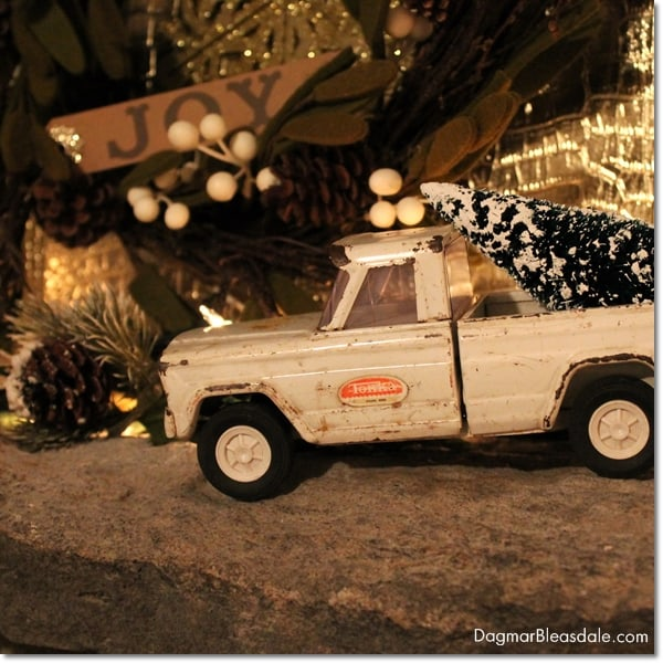 toy truck with bottle brush Christmas tree