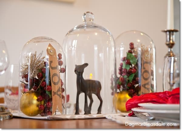 cloche centerpiece Christmas decor and table setting