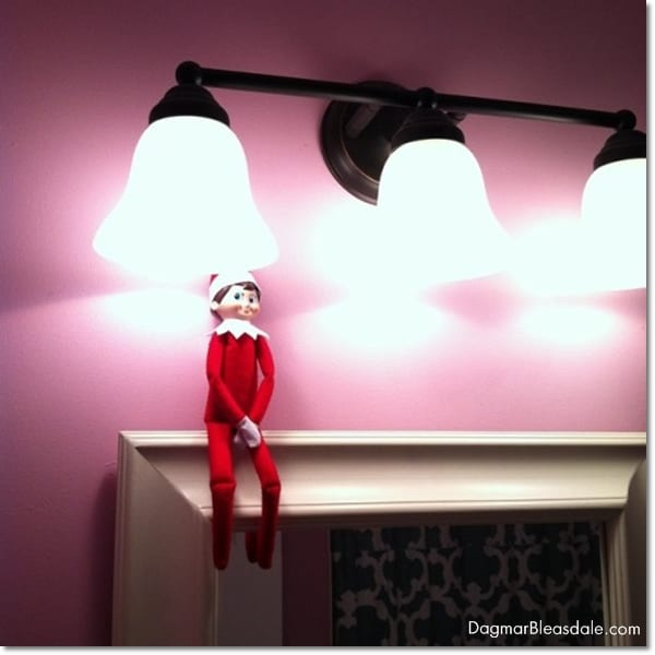 elf on the shelf in the bathroom