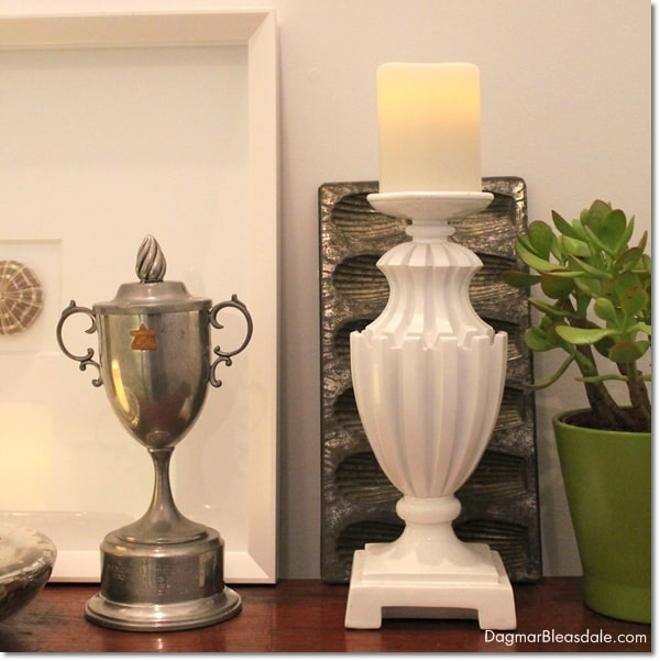 decorating with a vintage trophy