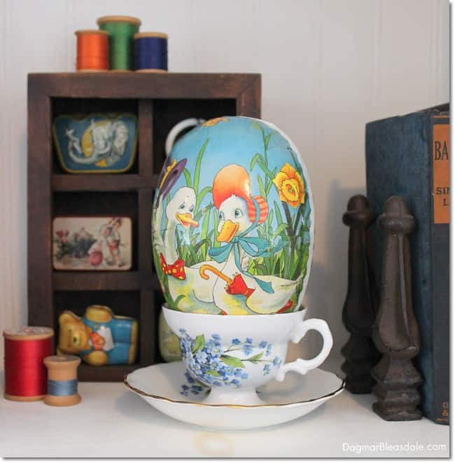 Easter egg is vintage tea cup