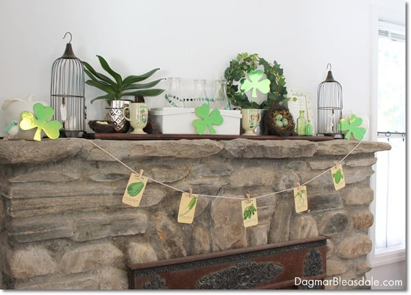 St. Patrick's Day mantel decor