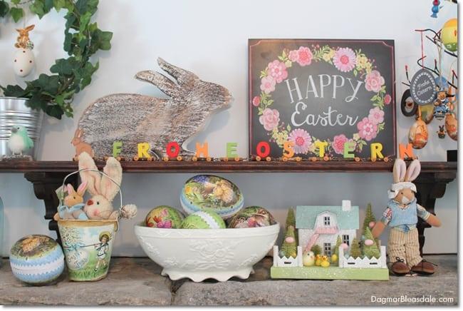 Easy Easter mantel decor