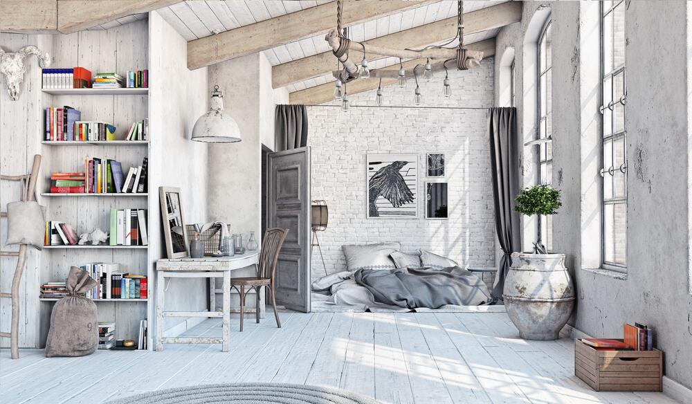 Scandinavian style interior. Bedroom attic.