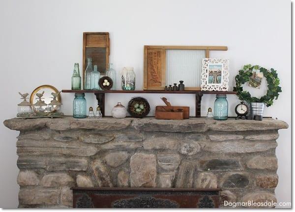 vintage mason jars on mantel
