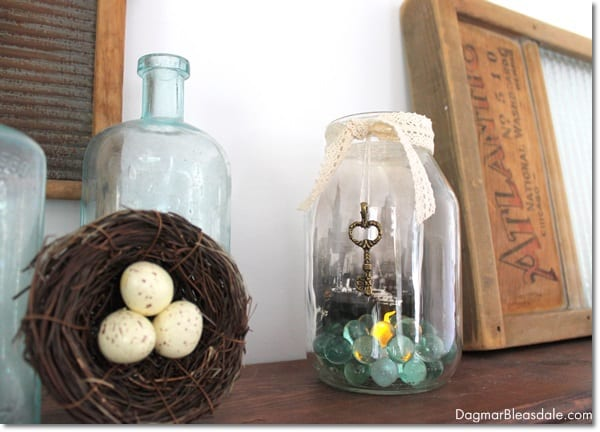 upcycled glass jar with post card